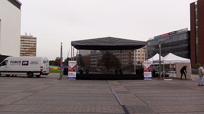 Ground support stage roofing system 8x6m